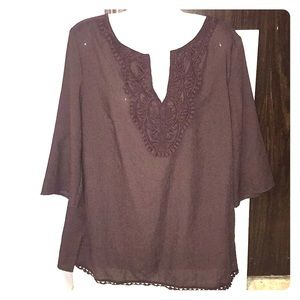 East 5th brown appliqué top. Size Large. NWOT.